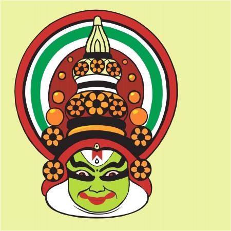 folk culture: Ilustraci�n de Kathakali, una divina Kerala forma de arte
