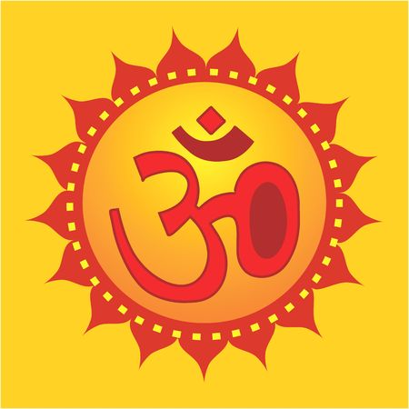 Illustration of Om in decorated yellow Stock Illustration - 2153780