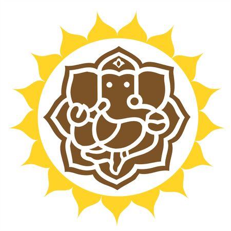 ganesh: Illustratie van Lord Ganesha In gekroond ring