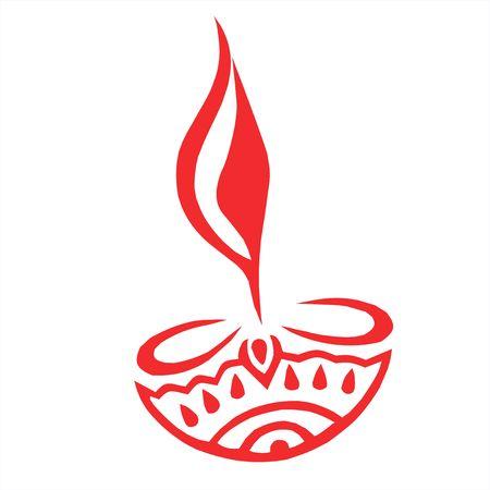 Illustration of divine lamp in red  illustration