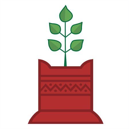 tulsi: Illustration of Tulsi plant in decorated foundation