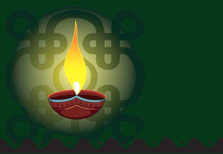 Illustration of a pot lamp in radiant green light