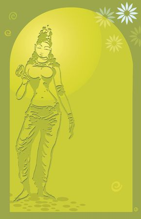 Illustration of a temple statue in yellow silky light  Stock Photo