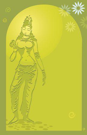 creador: Ilustraci�n de un templo estatua en la luz amarilla de seda  Foto de archivo