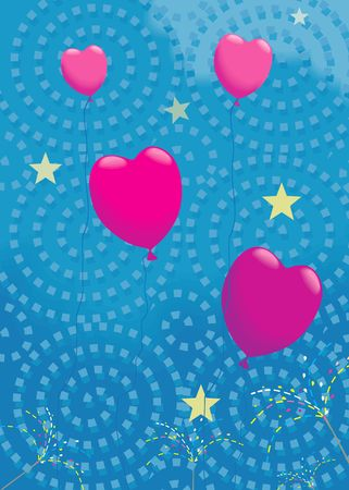 lovemaking: Illustration of Heart balloons flying in air along with stars