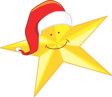 santa clause hat: Illustration of A yellow star with Santa clause hat and a smile on the face of the star  Stock Photo
