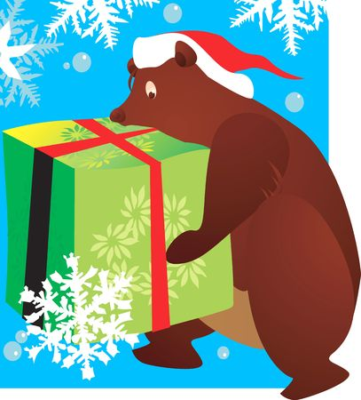 public celebratory event: Illustration of A bear with a hat carrying a huge gift tied with red ribbon