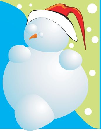 Illustration of Snowman as Santa Clause in red hat and carrot as his nose Stock Illustration - 2158098