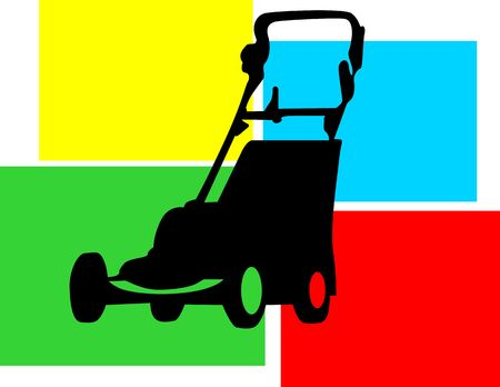 foursquare: Illustration of Silhouettes of grass mower on multi coloured back ground Stock Photo