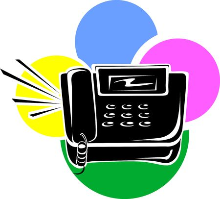 touchtone: Illustration of A black land phone on multi coloured back ground Stock Photo