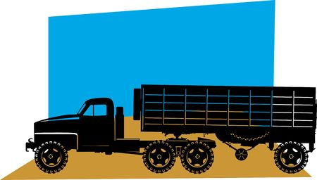 removal van: Illustration , Silhouette of Heavy Goods Vehicle on blue back ground