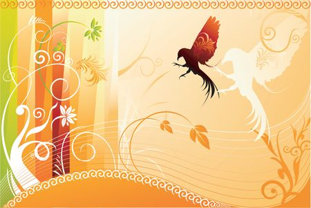 Illustration of Birds on abstract floral background Stock Illustration - 2221925