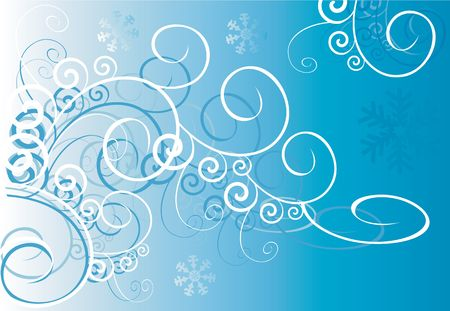 Floral designs of swirls on blue background  Stock Photo