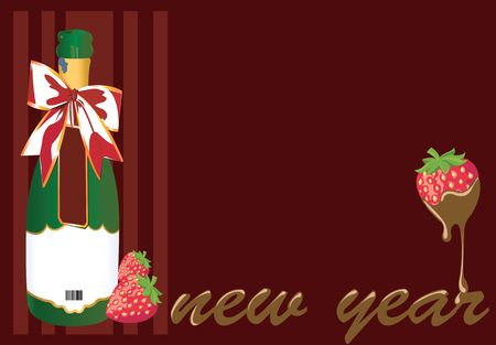 Illustration of New year celebration with Champagne and strawberry dipped in chocolate Stock Illustration - 2287182