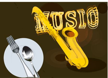 Illustration of Music with fork and spoon on a plate Stock Illustration - 2287187