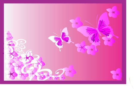 Illustration of Butterflies in floral background  Stock Illustration - 2287100