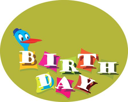 celebratory event: Illustration of Colourful Birthday greetings and a duck   Stock Photo