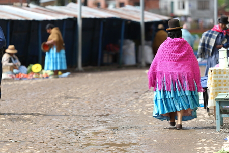 Bolivian woman in traditional costume in Tiquina, Bolivia 写真素材