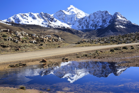 The mountain peak Huayna Potosi (6088m) in the Bolivian Andes