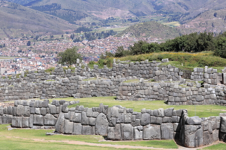 Monumental Inca walls in the ruins of Sacsayhuaman at Cusco, Peru