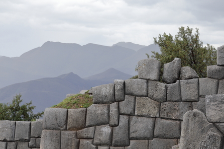 Monumental Inca wall in the ruins of Sacsayhuaman at Cusco, Peru