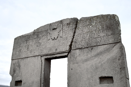 The sun gate in the ruins of Tiwanaku, Bolivia 写真素材