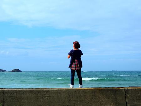 Women Japan Sea Stock Photo