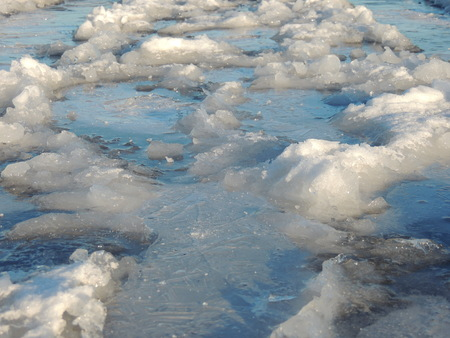 The frozen road surface Stock Photo