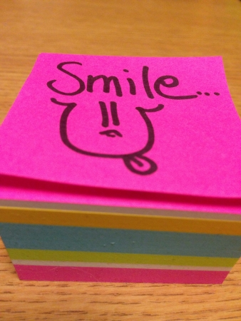 note of a smiley face