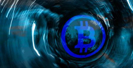 Conceptual digital Bitcoin art. Abstract background. Digital coin ..