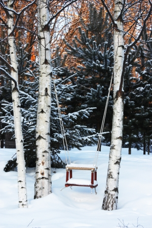Empty swing covered with snow photo