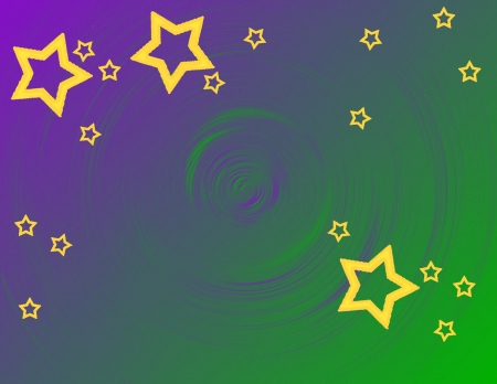 Bright golden stars on a purple and green swirl for your Mardi Gras celebration Stock Photo