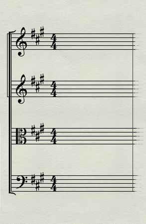 Music staff with clefs and key signatures for string quartet-vertical layout Banco de Imagens - 6345259