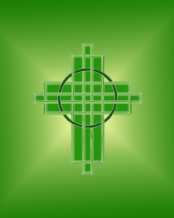 Celtic interlaced cross on green background for St. Patrick's Day Stock Photo - 6547621