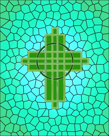 Celtic interlaced cross on stained glass background for St. Patrick's Day Stock Photo - 6547626
