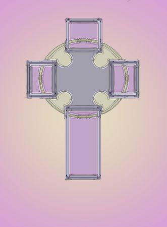 Una croce celtica in metallico rosa e lavanda Pasqua tonalità pastello. Archivio Fotografico - 6627898