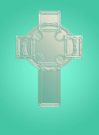 pasch: una croce celtica in bassorilievo aqua toni pastello di Pasqua.