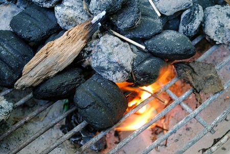 lighting the charcoal on the barbecue grill