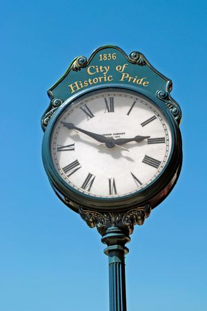 recently: Town clock, emblem of civic pride; vintage mid-1800s, recently restored Stock Photo