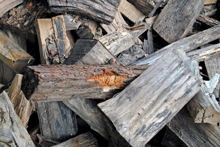 kindling: Wood kindling and fuel for campfire Stock Photo