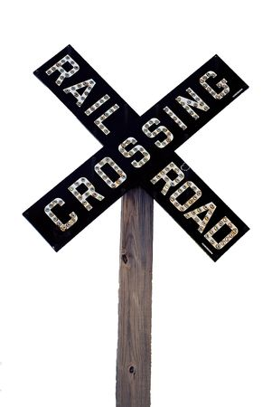 Railroad crossing sign, vintage late 1800s, isolated on white background