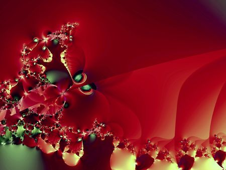 Abstract border resembling cutwork lace in autumn palette of reds and golds. Digitally generated fractal.