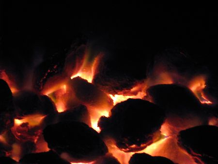 coals ready for the cookout Stock Photo