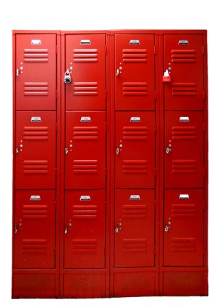 private school: Wall of school gym lockers in bright red, isolated on white background.