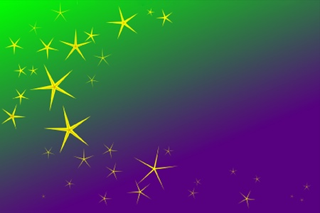 golden stars on a green and purple background to put the sparkle in your Mardi Gras Stock Photo - 8596215
