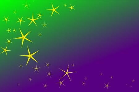 mardi gras: stelle dorate su sfondo verde e viola per mettere il luccichio nel vostro Mardi Gras