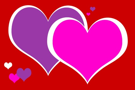 Vivid design of hearts in pink and purple on a red background.  A pop art valentine. photo