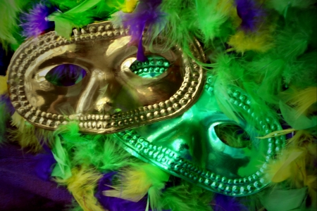 Mardi Gras masks and feathers.
