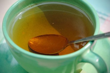 low cal: A cup of tea and a teaspoon.