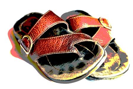liesure: A well-worn pair of thong sandals.  Posterized grunge effect.